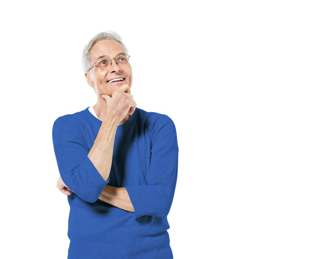 Senior Adult Man Standing With His Hand On His Chin Smiling And Comtemplating